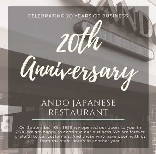 Ando Sushi Bar Cincinnati 20th Anniversary